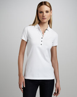 Burberry Brit Basic Check-Placket Polo, White