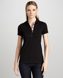 Burberry Brit Basic Check-Placket Polo, Black