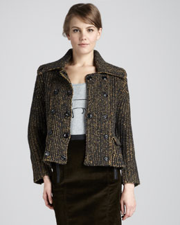 Burberry Brit Heritage Tweed Peplum Jacket