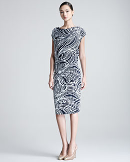 Escada Elira Ocean Printed Jersey Dress