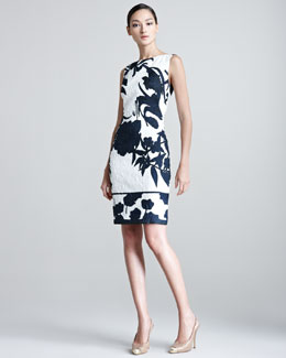 Escada Delfna Embossed Floral Patterned Dress