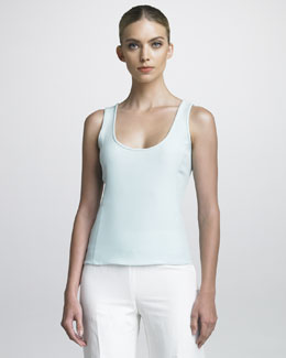 Armani Collezioni Scoop-Neck Cady Shell, Mint