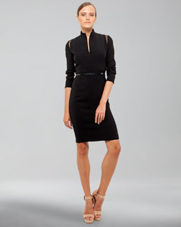 Akris Mandarin-Collar Long-Sleeve Dress