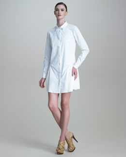 Thakoon Long-Sleeve Drop-Waist Poplin Shirtdress