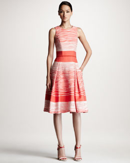 Carolina Herrera Jacquard Waves A-Line Dress