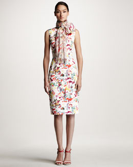 Carolina Herrera Lovers Print Sheath Dress