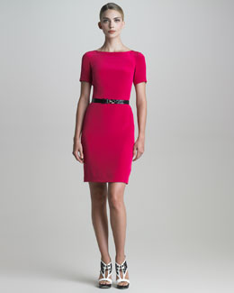 Jason Wu Belted Short-Sleeve Silk Crepe Dress