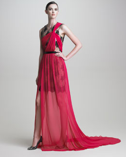 Jason Wu Lace-Underlay Draped Chiffon Gown