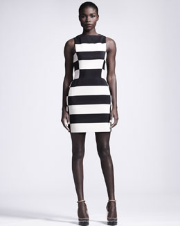 Lanvin Graphic Striped Sheath Dress