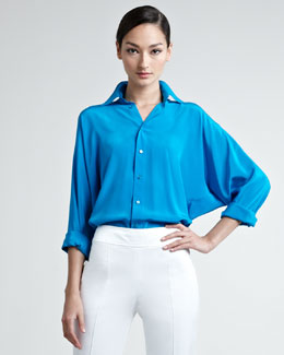 Ralph Lauren Black Label Pierson Dolman-Sleeve Button-Down Blouse, Blue