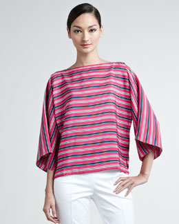 Ralph Lauren Black Label Vivian Striped Silk Blouse