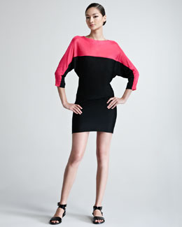 Ralph Lauren Black Label Colorblock Dolman-Sleeve Knit Dress