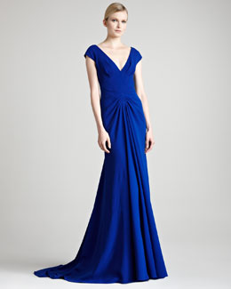 Lela Rose Crepe V-Neck Gown