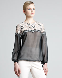 Lela Rose Lace-Shoulder Sheer Blouse