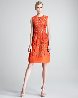 Lela Rose Etched Cutout Sheath Dress