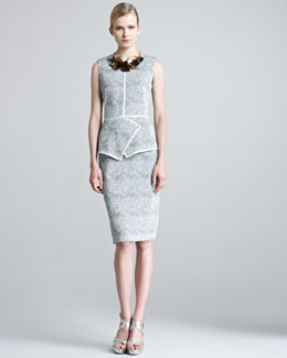 Lela Rose Etched Jacquard Sheath Dress