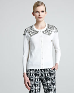 Lela Rose Geometric-Bead Cardigan