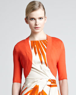 Lela Rose Knit Silk Shrug, Blood Orange