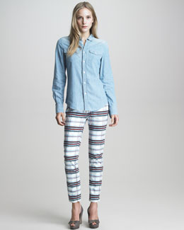 See by Chloe Check-Print Straight-Leg Jeans