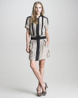 See by Chloe Drawstring-Waist Silk Dress