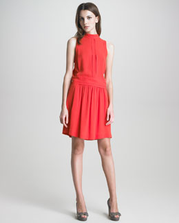 See by Chloe Mock-Neck Drop-Waist Dress