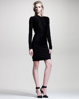 T by Alexander Wang Draped Shiny Jersey Long-Sleeve Dress