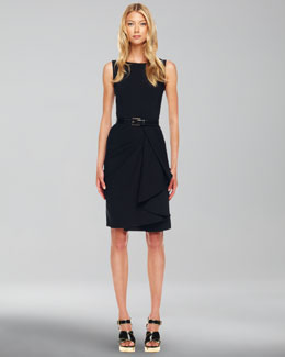 Michael Kors  Drape-Skirt Crepe Dress