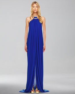Michael Kors  Jeweled Halter Gown