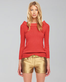 Michael Kors Cashmere Cuff-Neck Sweater