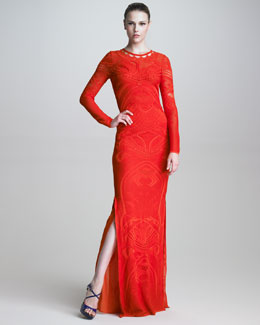 Roberto Cavalli Pointelle-Knit Long-Sleeve Maxi Dress