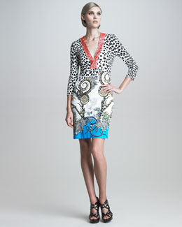 Roberto Cavalli Coral-Beaded Mixed-Print Dress