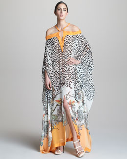 Roberto Cavalli Long Printed Cold-Shoulder Caftan