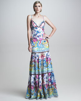 Roberto Cavalli Tiered Printed Mermaid Gown
