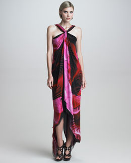 Roberto Cavalli Asymmetric Printed Halter Maxi Dress