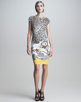 Roberto Cavalli Cap-Sleeve Mixed-Print Dress