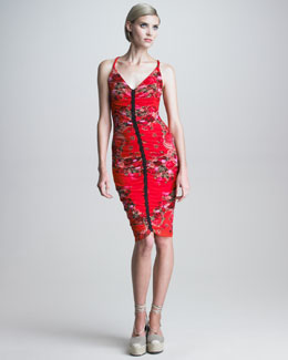 Jean Paul Gaultier Ruched Rose-Print Sheath Dress