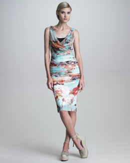 Jean Paul Gaultier Ruched Romantic Floral-Print Dress