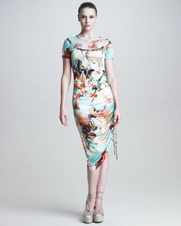 Jean Paul Gaultier Short-Sleeve Floral-Print Dress