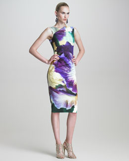 Oscar de la Renta Iris-Print Sheath Dress