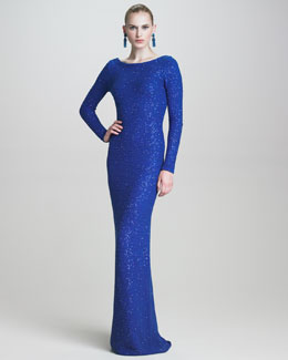 Oscar de la Renta Sequined Scoop-Back Gown