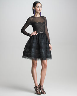 Oscar de la Renta Fit-and-Flare Illusion Dress