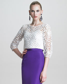 Oscar de la Renta Camilla Guipure Lace Blouse with Sequins