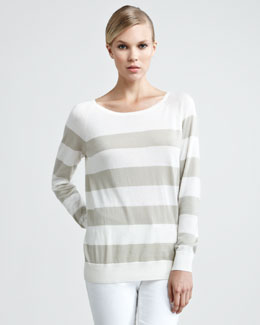 Loro Piana Natalie Striped Sweater with Scarf, Stone