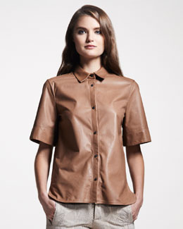 Belstaff Short-Sleeve Leather Blouse