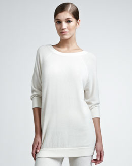 Donna Karan Three-Quarter-Sleeve Cashmere Pullover