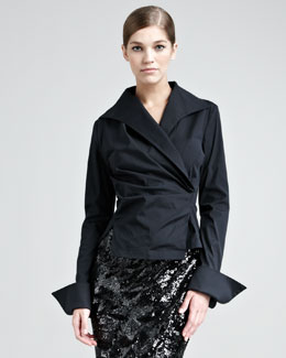 Donna Karan Stretch-Taffeta French-Cuff Shirt