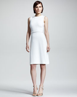 Valentino Braid-Trim Cady Dress