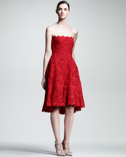Valentino Voulant Lace Strapless Dress