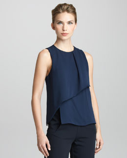 Giorgio Armani Sleeveless Panel-Front Blouse