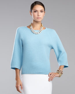 St. John Collection Micro-Textured Three-Quarter-Sleeve Sweater
